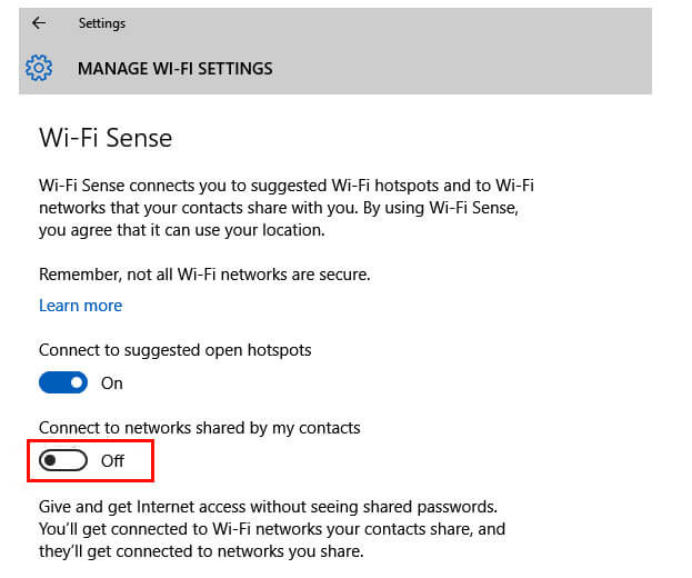 Disable Wi-Fi Sense Setting