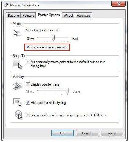 Turn Off Mouse Acceleration Setting