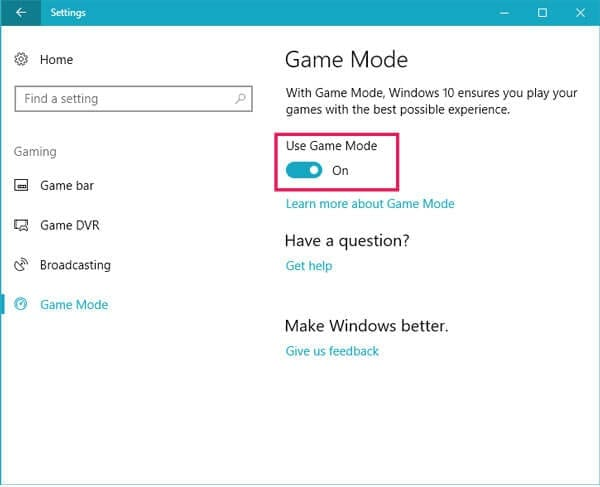 Windows 10 Gaming Mode settings