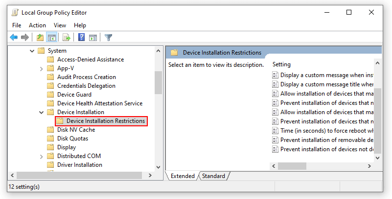 Turning off Windows default feature