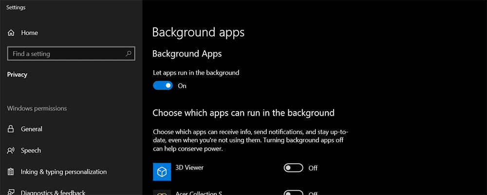 Background apps settings
