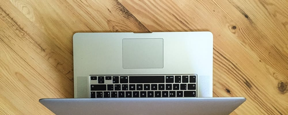 Top view of apple laptop